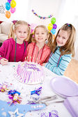 Birthday: Little Girls Ready For Birthday Cake — Stock Photo