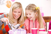 Birthday: Mother Cutting Birthday Cake For Girl — Stock Photo