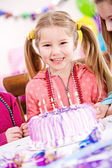 Birthday: Smiling Birthday Girl With Cake — Stockfoto