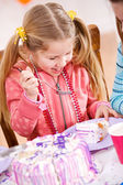 Birthday: Little Girl Ready To Eat Cake — Stock Photo