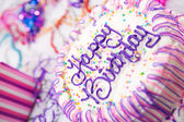 Birthday: Decorated Girl's Birthday Cake On Table — Stock Photo