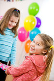 Birthday: Cute Girl Excited To Get Party Gift — Stock Photo