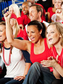 Fans: Girls Cheer for Winning Team — Stock Photo