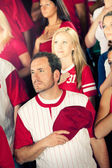 Fans: Man Listens to National Anthem — Stock Photo
