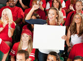 Fans: Woman Cheers for Team with Blank Sign — Stock Photo