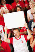 Fans: Team Fan Holds Up Blank Sign — Stock Photo
