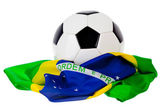 Soccer Ball: Ball Sitting On Flag Of Brazil — Stockfoto