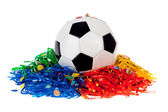 Soccer Ball: Ball With Poms And Confetti — Zdjęcie stockowe