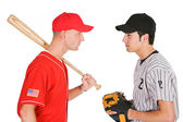Baseball: Players From Opposing Teams Stand Eye to Eye — Photo