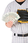 Baseball: Man Holding Fanned Out Cash — Stok fotoğraf
