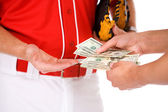 Baseball: Players Exchanging Money In Bet Or Bribe — Foto de Stock