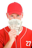 Baseball: Player Holding Up Fanned Out Money — Stockfoto