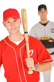 Baseball: Player Holding Baseball Bat — Foto de Stock