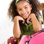 Student: Cute Schoolgirl Doing Homework — Stock Photo #50428621