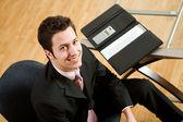 Business: Handsome Businessman At Desk — Stock Photo