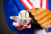 Patriotic: Holding A Baseball And Glove — Stock Photo