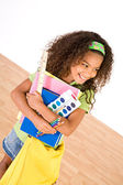 Student: Girl Student Holding School Supplies — Foto Stock