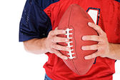Football: Anonymous Man Holding Football — Photo