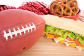 Football With Gameday Snacks — ストック写真