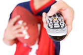Football: Man Pointing TV Remote At Camera — Foto Stock