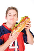 Football: Man Ready To Eat Delicious Sandwich — Photo