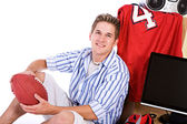 Student: Smiling Man With Ball And Stuff For Dorm Room — Foto de Stock