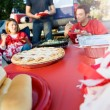 Tailgating: Focus On Apple Pie On Table Of Tailgate Party Food — Stock Photo #51023119