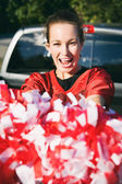 Tailgating: Woman Holding Poms Cheers For Team — Photo