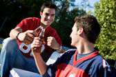 Tailgating: Guys Toasting Their Team Before Game — Photo