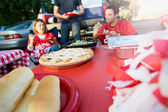 Tailgating: Focus On Apple Pie On Table Of Tailgate Party Food — Foto Stock