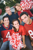 Tailgating: Group Of Friends Cheer For Their Team — Foto Stock
