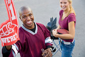 Tailgating: Guy Student Cheers For His Number One Team — Foto Stock