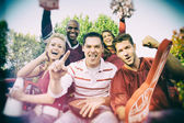 Tailgating: Crazy Group Of College Football Fans — Zdjęcie stockowe