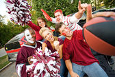 Tailgating: Group Of College Students Excited For Football Game — Stock Photo