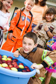 Halloween: Boy Bobbing for Apples — Foto de Stock