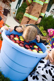 Halloween: Girl Bobbing For Apples — Foto de Stock
