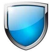 Blue shield button — Stock Photo