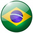 Brazil Round Glass Button — Stock Photo