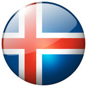 Iceland Round Glass Button — Stock Photo