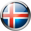 Iceland Round Metal Glass Button — Stock Photo