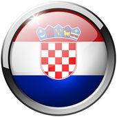 Kroatien Runde Metall Glas-Schaltfläche — Stockfoto
