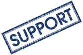 Support blue square stamp — Stock Photo