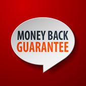 Dinheiro de volta garantia 3d da bolha do discurso sobre fundo vermelho — Vetorial Stock