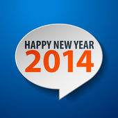 Happy New Year 2014 3d Speech Bubble on Blue background — Stock Vector