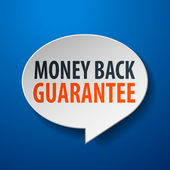 Dinheiro de volta garantia 3d da bolha do discurso sobre fundo azul — Vetorial Stock
