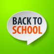 Back To School 3d Speech Bubble on Green background — Stock Vector