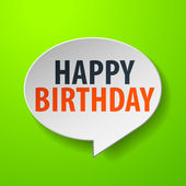 Happy Birthday 3d Speech Bubble on Green background — Stock Vector