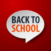Back To School 3d Speech Bubble on Red background — Stock Vector