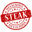 Steak red grunge stamp — Stock Photo #30509023