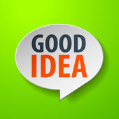Good idea 3d Speech Bubble on green background — Stock Vector